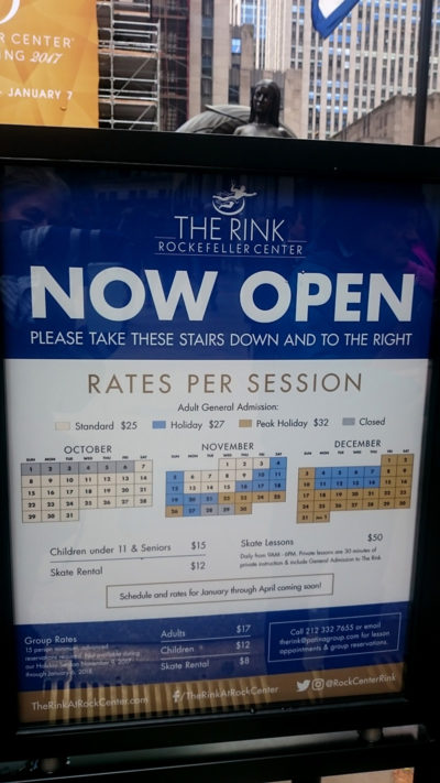 Rockefeller Center Ice Skating Rink rates