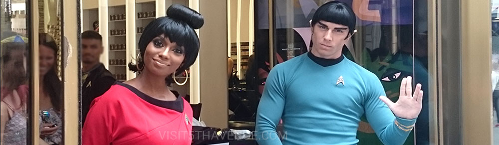 STAR TREK characters Uhura and Spock at M.A.C. on 691 5th Avenue
